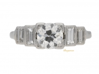 front view Art Deco diamond ring, English, circa 1935.