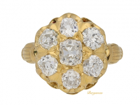 front-view-Antique-diamond-cluster-ring-by-Birks-of-Canada,-circa-1890.-berganza-hatton-garden