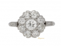front view Old cut diamond cluster ring, circa 1920.