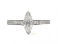 front view Marquise diamond ring, American, circa 1950.