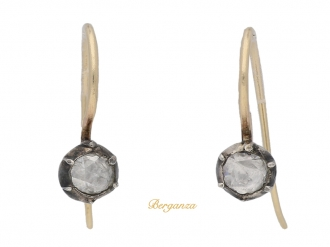 front-view-  Georgian-rose-cut-diamond-earrings,-circa-1780.-berganza-hatton-garden