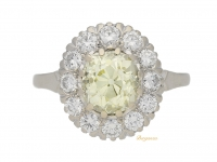 front view Fancy light yellow diamond cluster ring, circa 1950.