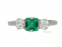 front view Emerald and diamond three stone ring, English, circa 1915.