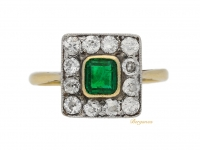 front view Emerald and diamond cluster ring, circa 1910.