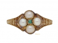 front view Georgian emerald and pearl locket ring, circa 1830.