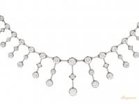 close up view Antique diamond necklace, circa 1880.