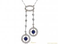 front-view-antique-Sapphire-diamond-pendant-berganza-hatton-garden