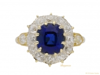 front-view-Antique-sapphire-and-diamond-coronet-cluster-ring,-circa-1895.-hatton-garden-berganza