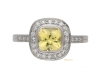 front view Yellow sapphire and diamond coronet cluster ring, circa 1950. berganza hatton garden