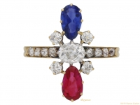 front-view-Art-Nouveau-ruby-,sapphire-and-diamond ring-French-circa-1895-berganza-hatton-garden