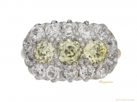 front-viewYellow-and-white-diamond-triple-cluster-ring,-circa-1905.-berganza-hatton-garden