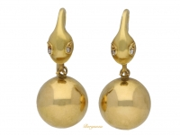 front view Early Victorian snake earrings, circa 1850. berganza hatton garden