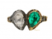 front view Georgian emerald and diamond twin heart ring, circa 1740. berganza hatton garden