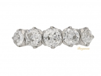 front view Five stone diamond ring, circa 1920. berganza hatton garden
