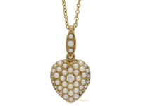front view Antique diamond & pearl heart pendant, circa 1900 berganza hatton garden