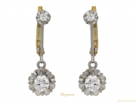 front view Diamond drop earrings, circa 1920. berganza hatton garden
