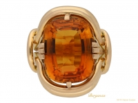 front view Solitaire citrine ring by Mellerio, Paris, circa 1940. berganza hatton garden