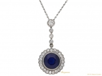 front-view-Sapphire-and-diamond-cluster-pendant,-circa-1915.-berganza-hatton-garden