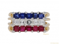 Ruby, sapphire and diamond ring by Cartier, circa 1976.
