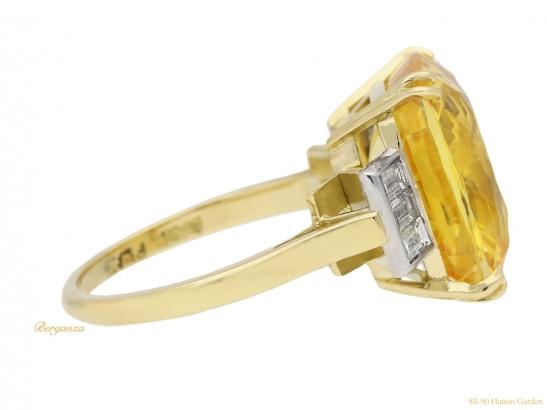 side-view-Yellow-sapphire-and-diamond-ring,-circa-1950.-hatton-garden-berganza