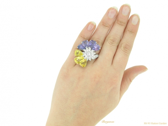 hand-view-Yellow-and-purple-sapphire-and-diamond-ring-by-Oscar-Heyman-Bros,-circa-1960-berganza-hatton-garden