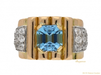 front-view- Aquamarine-and-diamond-cocktail-ring,-circa-1940.-berganza-hatton-garden