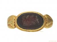 front-view-Ancient-Roman-Jupiter-intaglio-signet-ring,-circa-1st-3rd-century-AD.-berganza-hatton-garden