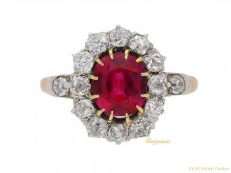 front-view-Antique-diamond-ruby-ring-berganza-hatton-garden