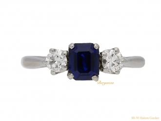 front-view-Antique-diamond- sapphire-ring-berganza-hatton-garden