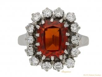front-view-vintage-Hessonite-garnet-diamond-ring-berganza-hatton-garden
