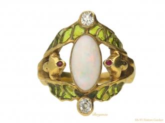 front-view-Art-Nouveau-opal-ruby-diamond-ring-berganza-hatton-garden