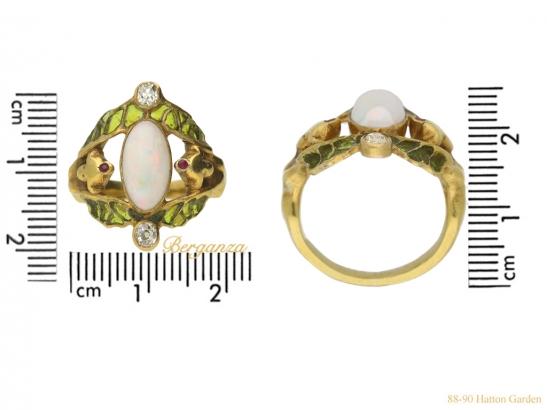 size-view-Art-Nouveau-opal-ruby-diamond-ring-berganza-hatton-garden
