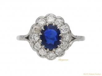 front-view-antique-diamond-sapphire-engagement-berganza-hatton-garden
