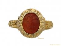 front-view-Medieval-lion-entaglio-ring,-berganza-hatton-garden