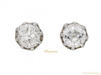 front-view-Antique-diamond-stud-earrings-berganza-hatton-garden