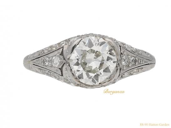 front-view-antique-diamond-set-engagament-ring-berganza-hatton-garden