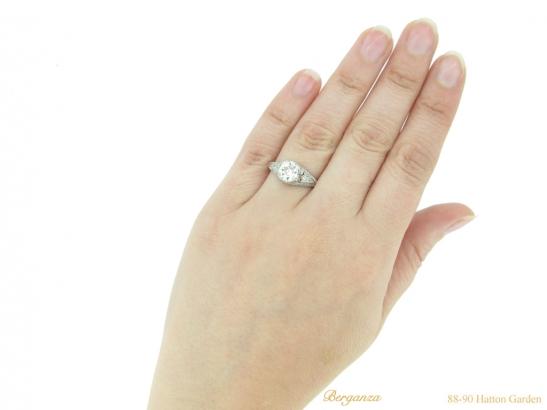 hand-view-antique-diamond-set-engagament-ring-berganza-hatton-garden