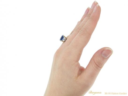 hand-viewq-Vintage-sapphire-diamond-ring-berganza-hatton-garden