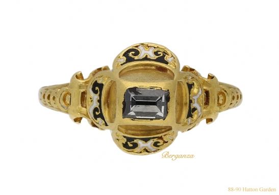 front-view-Tudor-table-cut-diamond-ring-berganza-hatton-garden
