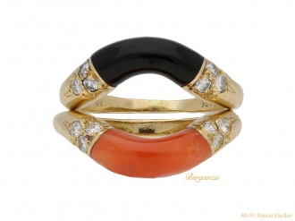 front-view-vintage-Cartier-coral-onyx-stack-rings-berganza-hatton-garden