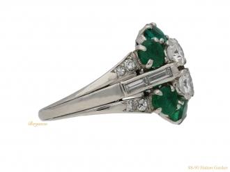 front-view-Vintage-diamond-emerald-cluster-ring-berganza-hatton-garden