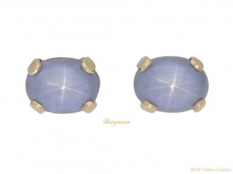 front-view-vintage-star-sapphire-stud-earrings-berganza-hatton-garden