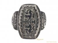 front-view-Byzantine-silver-niello-ring-berganza-hatton-garden