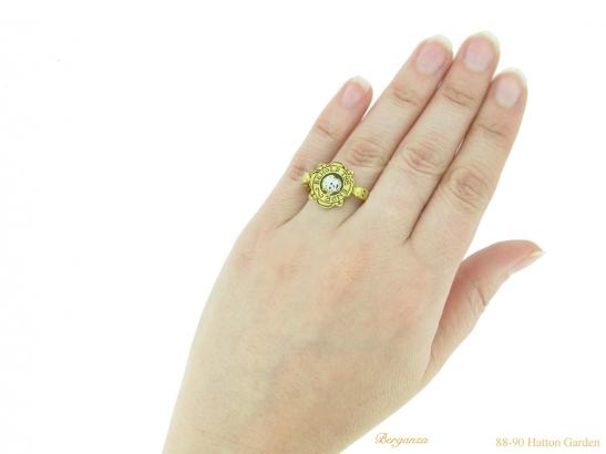 hand-view-tudor-skull-enamelled-ring-hatton-garden-berganza