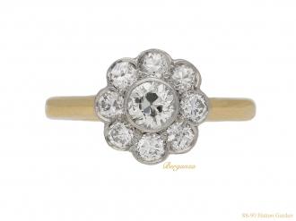 front-view-antique-diamond-cluster-ring-berganza-hatton-garden