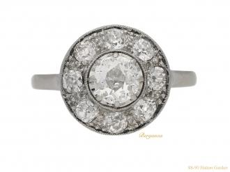 front-view-Vintage-diamond-cluster-ring-berganza-hatton-garden
