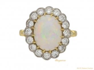 front-view-Vintage-opal-diamond-cluster-ring-berganza-hatton-garden