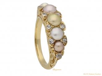 front-view-antique-natural-pearl-diamond-ring-berganza-hatton-garden