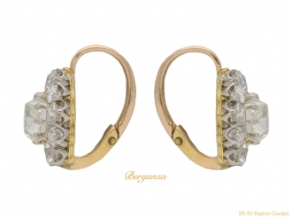 front-view-antique-diamond-cluster-earrings-berganza-hatton-garden