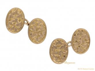 front-view-Edwardian-engraved-gold-cufflinks-berganza-hatton-garden